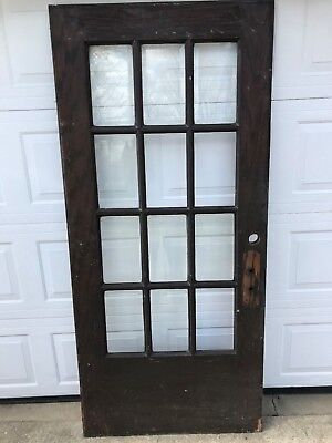 "ANTIQUE 12 LITE PANE BEVELED GLASS OAK FRENCH ENTRANCE DOOR 36 x 79 1/2""  PICKUP"