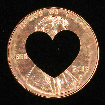 Lucky penny with heart cut out