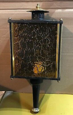 Vintage Porch Wall Sconce Light Fixture Amber Glass Gothic Spanish Revival
