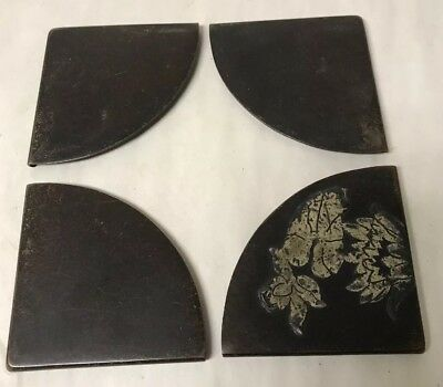 Set Of 4 Antique Arts And Crafts Silver Overlay Bronze Blotter Corners