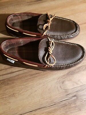 eb2f6123e Brown LL Bean Men's Size 9 M (D) Leather Hand Sewn Flannel Lined Slippers