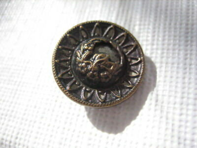 "Vintage Small 11/16"" Metal Button with Border and Plant Life - M43"