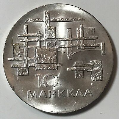 1967 - FINLAND 10 MARKKAA COIN - 50th YEAR of INDEPENDENCE- 90% SILVER