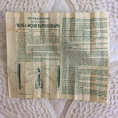 Vintage KOH-I-NOOR RAPIDOGRAPH Instructions Insert ONLY Germany