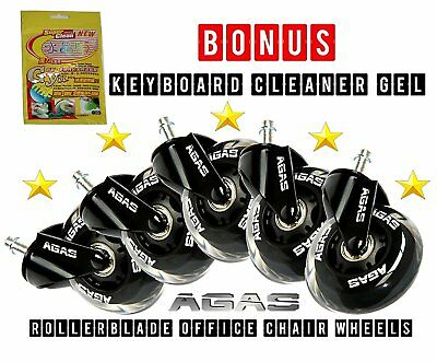 """Best In The World 3"""" ROLLERBLADE OFFICE CHAIR CASTER WHEELS - Set of 5"""