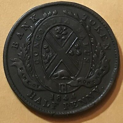 1844 Lower Canada Bank of Montreal Half 1/2 Penny Token