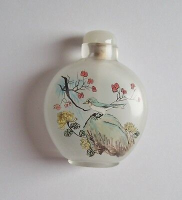 Reverse Painted Glass Snuff Bottle - White, Floral w Woman, Bird - China? Vtg?