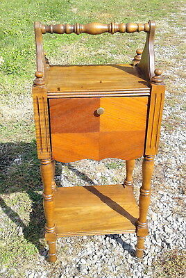 Antique Tobacco Smoke Stand 1930's Era Walnut and Maple Wood