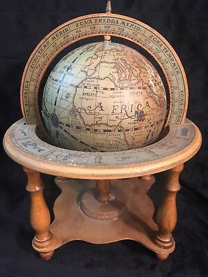 Vintage Wooden New World Zodiac & Astrology World Globe Made in Italy