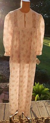 Vtg Gilligan O'malley Pink Floral Cotton Blend Nightgown M Nwt