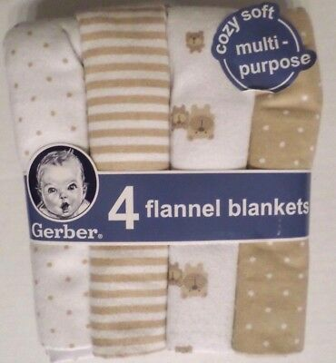 Gerber Cotton Flannel Baby Blankets Set/4 Bears/Stripes/Dots White/Tan 30x30
