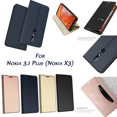 For Nokia 3.1 Plus PU Leather Ultra Flip Protective Case Cover with Card Slot