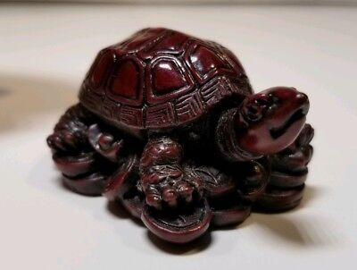 Chinese New Year Zodiac Feng Shui Tortoise On Coins Carved Red Wood Good Fortune