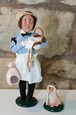 Byers Choice Ltd. The Carolers Holiday Figure Butcher w/Meat + Dog w/Meat 1995