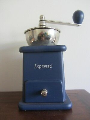 Rare Blue ZASSENHAUS Coffee Grinder With Open Hopper