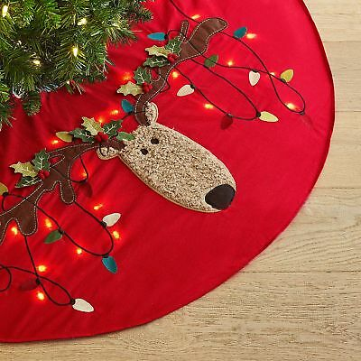 LED Light-Up Snowman Tree Skirt Red Pier One New NWT