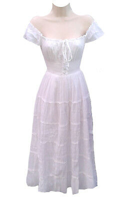 Gypsy 100% Cotton Women White Cap Sleeves Party Smocked Peasant Mid Length Dress