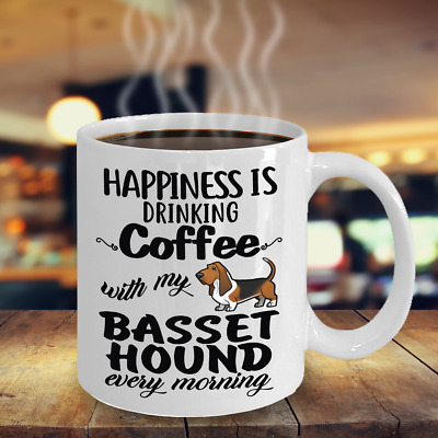 Coffee With Basset Hound Mug, Basset Hound Gift, Basset Hound Accessories