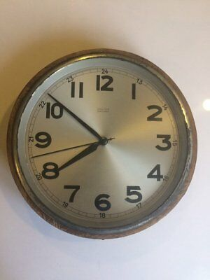 Large vintage factory or station wall clock Mauthe Synchron designed in Germany