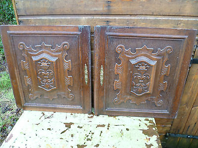 A Pair Of Antique French,  Carved Floral, Wooden Wall Hangings, Wall Plaques