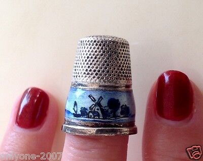Collectable Vintage Hand Made Enameled Thimble 925 Sterling Silver !