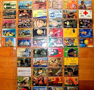 Cyprus Lot Of 50 Phone Cards Cyta Telecards From 1988 And Up Rare One Sealed