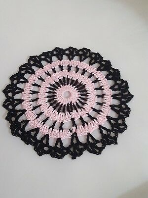 Baby Pink in Black Bumblebee doily Approximately 5 Inches.