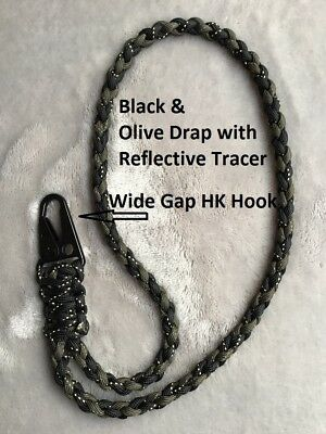 Paracord Neck Lanyard Wide Gap HK Style Snap Hook Black &Olive Drab/Reflective #