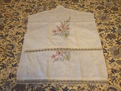 """2 Dusters/Covers x Hangers made w/VTG """"GUEST"""" Hand Embroided Pillowcases Pre-Own"""