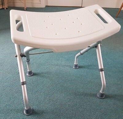 Showerdrape White Folding Adjustable Shower Stool Elderly / Disabled Mobility