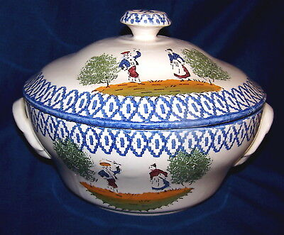 Vintage Country French Casserole Dish W/lid, Quimper Style, Brittany, France