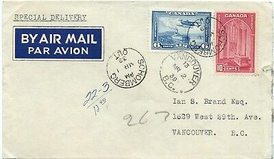 Special Delivery Air Mail 1939 Schomberg Ont. 1939 Canada cover