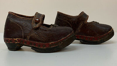 Baby Infants Leather Wood Antique Clogs Shoes Original Victorian pair brown