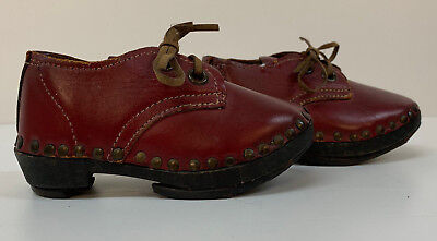 Baby Infants Leather Wood Antique Clogs Shoes Original Victorian pair Red