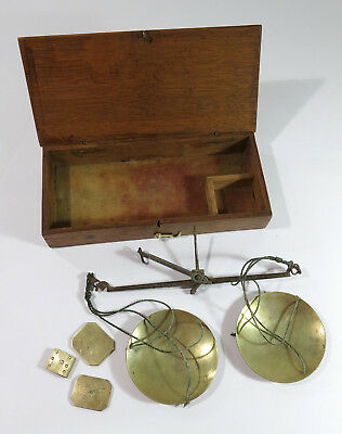 Antique Balance Beam Gold Miners Scale in Original Oak Box with Weights