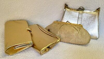 4-Vintage Gold Fabric/Faux Leather Handbags/Clutches/Purses