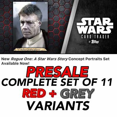 ROGUE ONE PORTRAITS PRESALE GRAY/RED SET OF 11 CARDS Topps Star Wars Digital