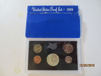 1969 S US Mint 5 Coin Proof Set Complete with Box Sleeve