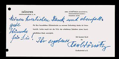 Karl Donitz - German Admiral - replaced Hitler - signed document c1962  RARE
