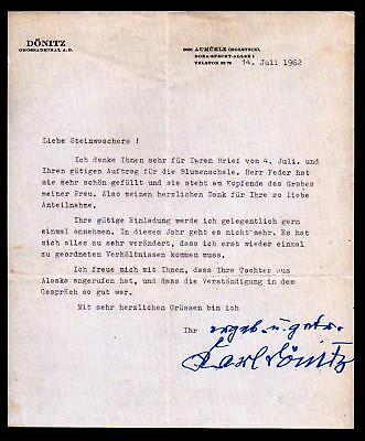 Karl Donitz - German Admiral - replaced Hitler - signed letter 1962  RARE