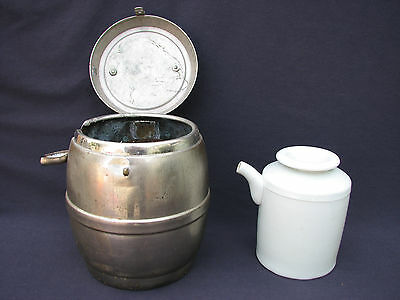 Rare Antique Asian Porcelain Wine Pot & Insulated Metal Travel Caddy Lion Stamp