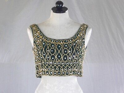 VINTAGE 60s JEWELED cropped VEST velvet with heavy beading XS