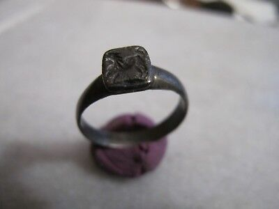 Antique  Medieval Crusader Silver Leon  Engraved  ring