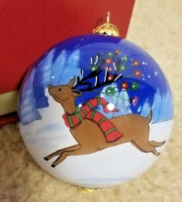 "2018 Leaping Deer Christmas Hand Painted Li Bien Glass 3"" Ornament Pier 1 W/Box"