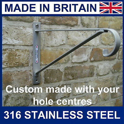 "Stainless Steel Hanging Basket Brackets made to your hole centres 14"" baskets"