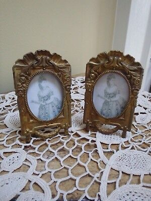 Diminutive Pair Antique French Style Gilt Metal Picture Frames