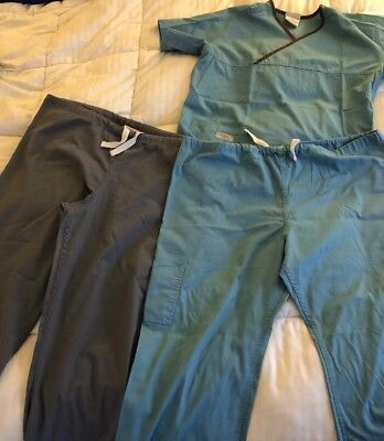 Urbane Scrubs 3 Items! Size Large. 2 Bottoms And 1 Top Blue And Grey