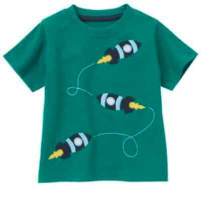 NWT~Gymboree SPACE VOYAGER teal blue rocket space ship S/S shirt~3-6