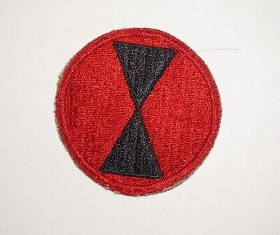 7th Infantry Division Red Border Patch WWII US Army P8300
