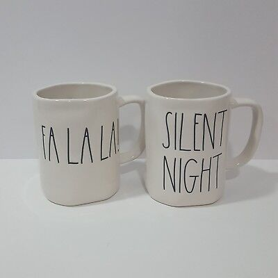 New Rae Dunn Magenta Christmas Mug Set Lot of 2 Silent Night Fa La La LL HTF